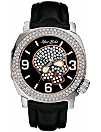 Marc Ecko E13524G1 Unisex Iced Skeleton Analogue Watch With Black Leather Strap and Rose Gold Accents