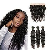 DAIMER Ear to Ear Closure Lace Frontal Curly Deep Weave Brazilian Virgin Hair 3 Bundles Unprocessed Human Hair Extension Deals 14 16 18 +12 Frontal