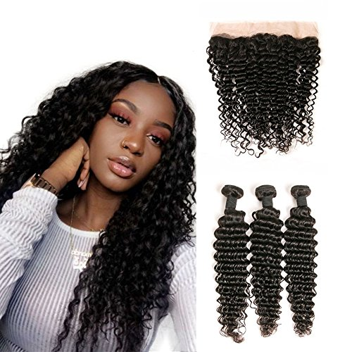 DAIMER Brazilian Hair Deep Wave with 14 x 3 Free Part Ear to Ear Lace Closure Human Hair Extension Mixed Length Hair Weave on Sale 14 16 18 +12 Frontal