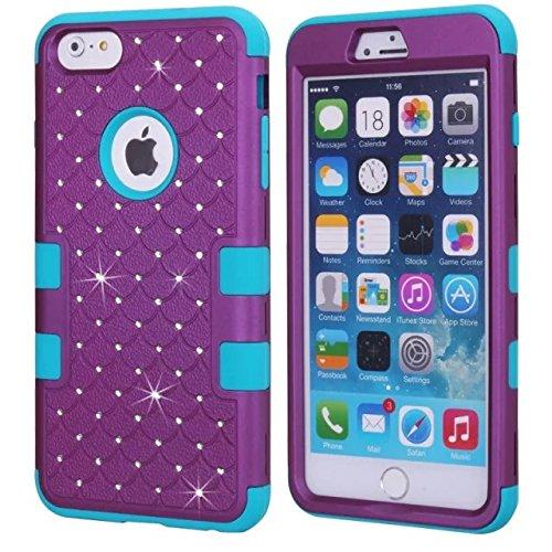 iPhone 6S Case, iPhone 6 Bling Case, Lantier [Disque souple Tough] concepteur Crystal Bling hybride Cover Case Armure pour iPhone 6, iPhone 6S 4,7 pouces rose + blanc Crystal Bling Blue+Purple