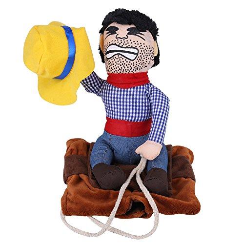 m lustige Cowboy Reiter Kleidung Hunde Outfit Ritter Stil Kleidung mit Puppe und Hut für Halloween Cosplay Party(L) (Puppe Halloween-kostüme Niedlich)
