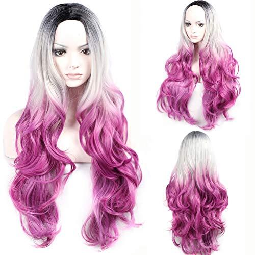 Big Wave Perücken Matte Hochtemperatur Chemiefaser Haarverlauf Langes lockiges Haar mit freiem Haarnetz, 70cm