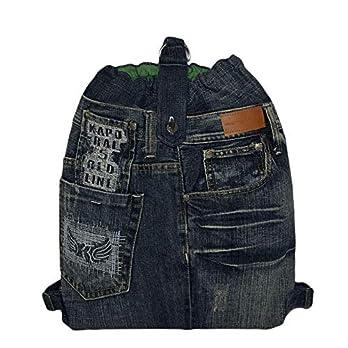 Denim Tagesrucksack Damen Backpack mit Kordelzug und Schnallenverschluss Jeansstoff dunkelblau Mädchen Handgemachte Alltagtasche für Freizeit