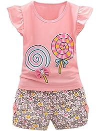 QUICKLYLY Bebe Niña Camiseta Sin Mangas de Lollipops y Pantalones Cortos Florales Conjunto de Ropa Verano