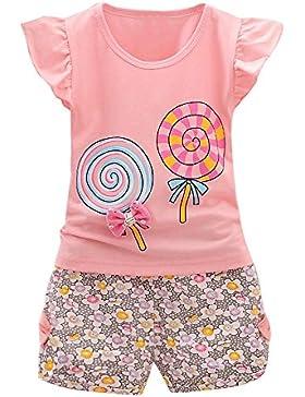 Covermason Bebé Niña Piruletas Impresión Bowknot Tops Camiseta y Pantalones Cortos (2 PCS)
