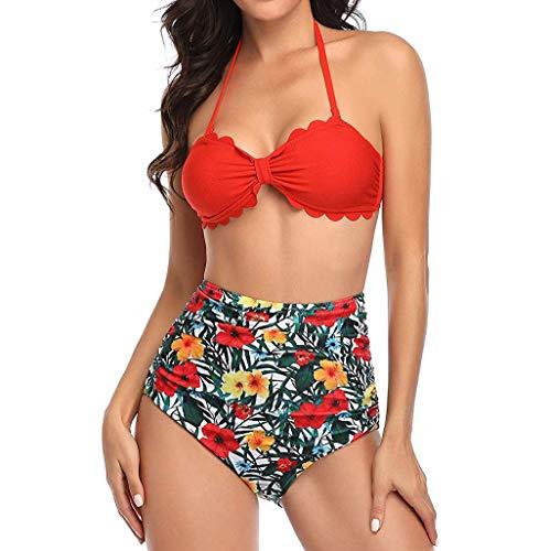 Bikini-Sets Damen, Geteilter Badeanzug Frauen High Waist Geblümte Schwimmanzug Muschel-Kante Neckholder Slip Bikinihosen Badeanzüge Bademode Strandmode Swimsuit (Rot, L) - 3