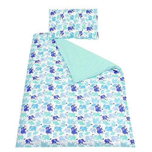 TupTam Kinder Bettwäsche Set Wendebettwäsche 100x135 2 tlg., Farbe: Elefant Blau, Größe: 135x100 cm
