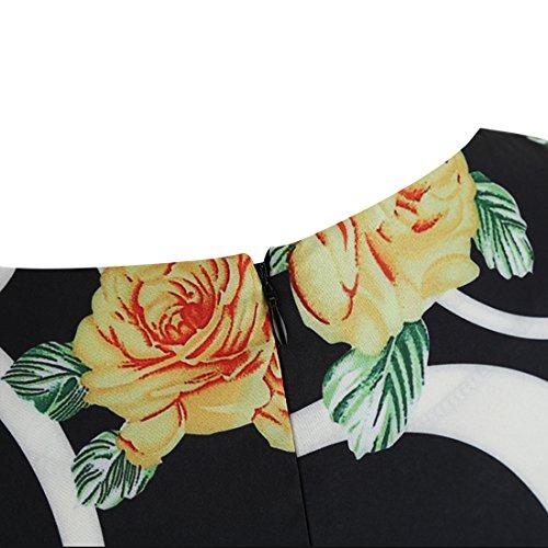 Zhishang 50s Rockabilly Kleid Festliches Kleid Partykleider Cocktailkleider Schwingen Vintage Rockabilly kleid Faltenrock Flower print-4