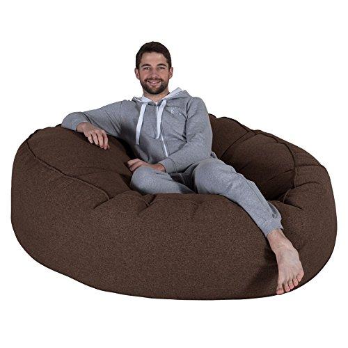 Lounge Pug, 'Mega-Mammoth' Sofa Sitzsack XXL, Schlafsofa, Interalli Wolle Braun