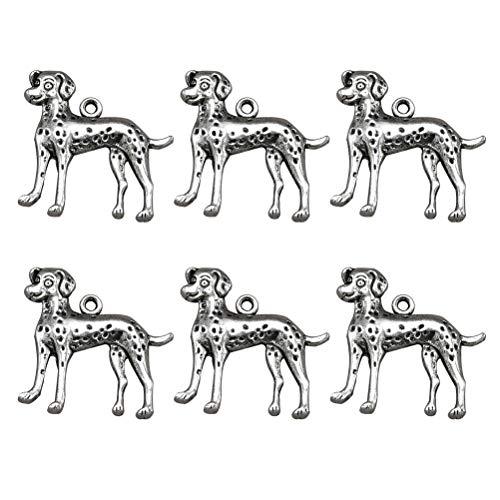 FENICAL 20pcs Antique Silver Charms Hund Form Schmuckherstellung Charms Anhänger für DIY Schmuckherstellung Zubehör