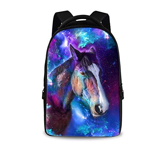 s Laptop für 13-18 Zoll Laptop Schultasche Tiermuster Schule Reise Rucksack Casual Daypack für Business/College/Damen/Herren Horse Galaxy Einheitsgröße ()