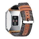 Die besten Fitbit Angebote - CHIMAERA Fitbit Ionic Smart Uhrenarmbänder Stoff + Lederarmb Bewertungen