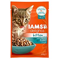 IAMS Delights Kitten Futter mit Huhn in Sauce – Ausgewogenes, hochwertiges Katzen-Nassfutter für jüngere Kätzchen von 1-12 Monate – 1 x 85g Frischebeutel