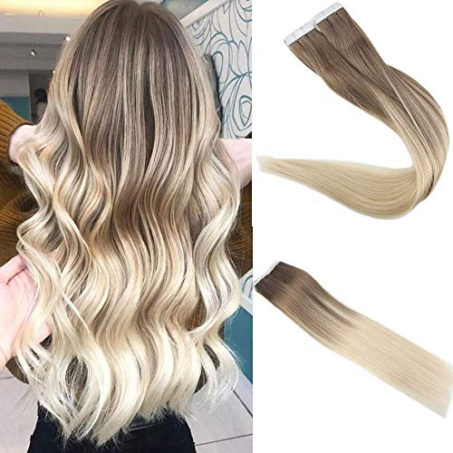 r Extensions 16 zoll 100g 40Pcs pro Paket Balayage Farbe 8 Ash Brown Fading zu 60 Blonde Tape in Ombre Extensions ()