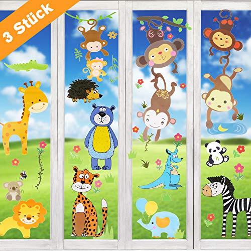 Wimaha Fenstersticker Tiere Fensterfolien Fensterdeko Fensterbilder Fensteraufkleber für Wohnzimmer Schlafzimmer Kinderzimmer,30x40cm