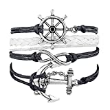 Best Bling Jewelry Mens Bracelets - Blingg Rudder Anchor Infinity Multilayer Wristband Gift Review