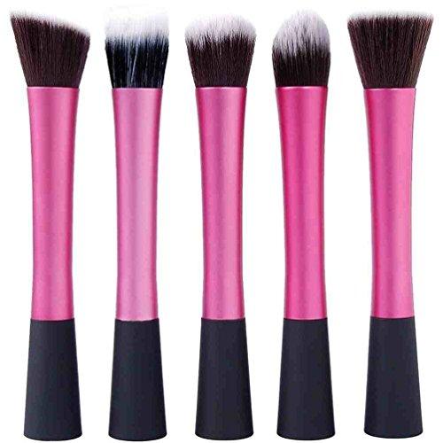 5 Maquillage Pinceaux Fondation rond, tête plate, conique et l'angle - Poils Synthétiques, Poignée En Aluminium - Noir et Rose [version:x8.9] by DELIAWINTERFEL