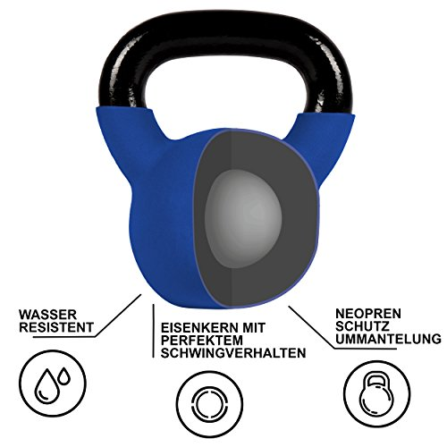 Kettlebell Neopren 2 – 30 kg inkl. Übungsposter (10 Kg - Dunkelblau) Kugelhantel - 6