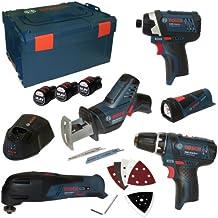 Bosch Profesional - Kit de 5 herramientas (edición limitada, GSA, GOP, GLI, GDR, GSR, incluye 3 baterías de 10,8 V y 1,5 Ah y cargador AL1130CV en L-Boxx, talla 3)