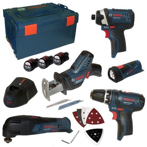 Bosch 0615990ex4–Professional–Kit von 5Instrumente (Limited Edition, GSR, GOP, GLI, GDR, GSR, inkl. 3Akkus 10,8V 1,5Ah und Ladegerät AL1130CV in L-Boxx Gr. 3)