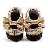 DELEBAO Babyschuhe Krabbelschuhe Leder Baby Lauflernschuhe Neugeborene Erste Schuhe Lederschuhe Weiche Sohle mit Quaste und Bowknot (Gold&Schwarz,12-18 Monate)