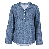 ESAILQ Damen T-Shirt Ladies Extended Shoulder Tee, Baumwollshirt mit Turn-up Ärmeln(XL,Blau)