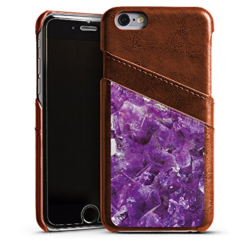 Apple iPhone 5s Housse Étui Protection Coque Améthyste Pierre précieuse Lilas Étui en cuir marron