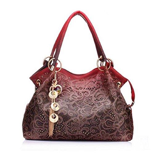 Syknb Donne Borse Messenger Belle Donne Borsetta Moda Fiori Stampa Borsa Donna Dolce Bag,Grigio Chiaro red