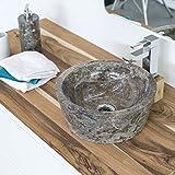 wohnfreuden Marmor Waschbecken 30 cm grau  rund poliert  Steinwaschbecken oder Naturstein Aufsatzwaschbecken für Bad Gäste WC  inkl. techn. Zeichnung  schnell