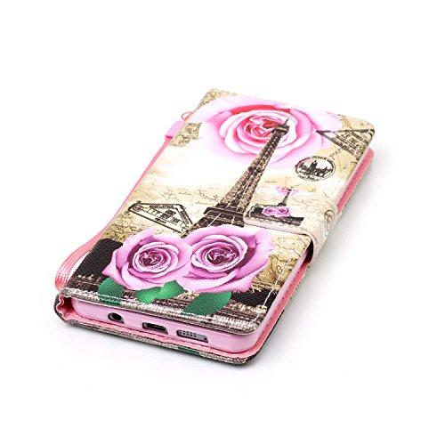 für Smartphone Samsung Galaxy A5 (6) SM-A510F (2016) Hülle, Leder Tasche für Samsung Galaxy A5 (6) SM-A510F (2016) Flip Cover Handyhülle Bookstyle mit Magnet Kartenfächer Standfunktion ( + Staubstecke 2