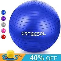 Gymnastikball, Arteesol 65cm / 75cm Fitness Yoga Ball Anti-Burst Stabilität Balance Ball mit Pumpe für Core Strength
