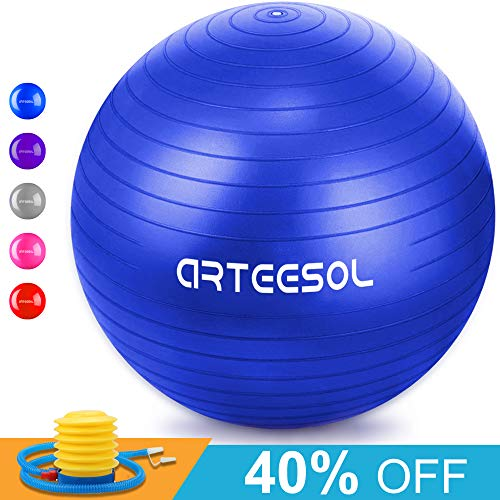 arteesol Gymnastikball, Balance Ball 45cm/55cm/65cm/75cm Yoga Ball mit Pumpe Anti-Burst Fitness Balance Ball für Core Strength (Blau, 65cm) (Fitness-bälle Große)