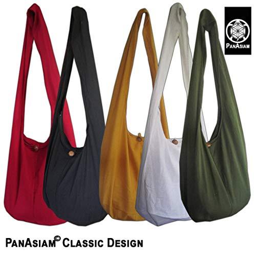 Panasiam schulterbeutel, présenté en deux tailles, différentes couleurs & design extra innentasche.. - Noir - Noir, L EU
