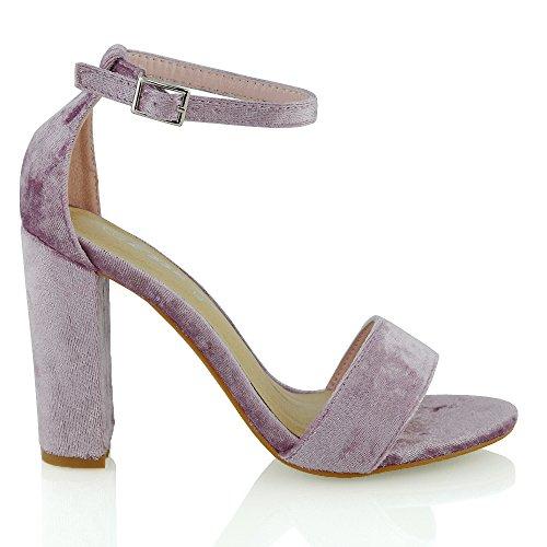 ESSEX GLAM Damen Hochblockabsatz Riemchen Zehenfrei Schuhe Knöchelriemen Sandalen (EU 39, Pastell Rosa Samt)