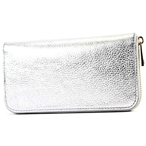 modamoda de - P02 - ital. Damen Portemonnaie Echtleder lang, Farbe:P02 Silber -