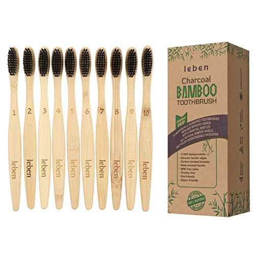 Leben Bambus Zahnbürsten für gesunde und weiße Zähne, 10 Pack BPA freie plastikfrei verpackte Bambus Holzzahnbürste