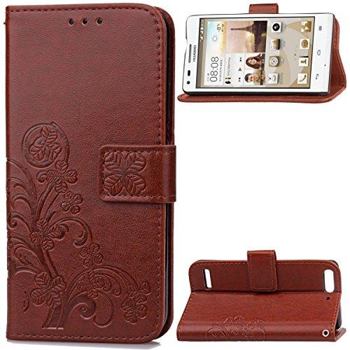 Huawei Ascend G6 Hülle, CaseFirst Lederhülle Stoßfest Handyhülle Geprägt Textur Ultra Dünn Schutzhülle Kratzfest Hülle Wallet Case mit Handy Halter & Card Slots (Braun)