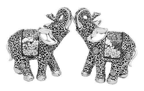 Pair of Silver Elephant Ornament Decorative Mosaic Indian Elephant Statues