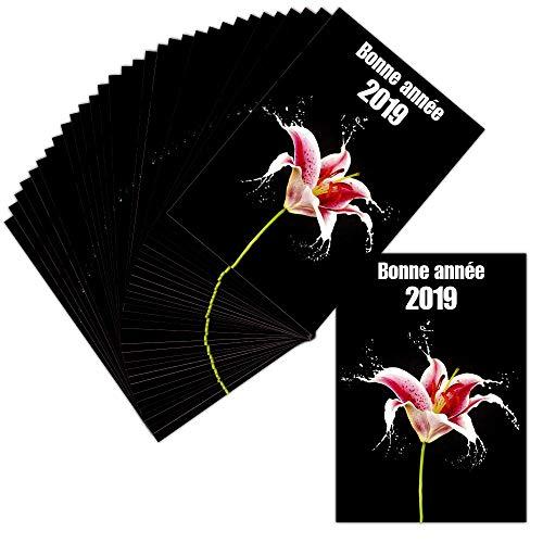 Glückwunschkarte mit Blumenmotiv – 32 Karten – Glückwunschkarte 2019 und Gutscheine – Dispo in 3 Größen Carte non pliée - 14 cm x 19,5 cm