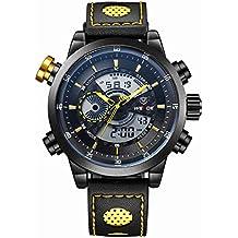 Chicos LED Digital Analógico Dual Time Display deportes reloj WEIDE Pixnor WH-3401 multifuncional impermeable de los hombres con cronómetro Datesemana alarma PU banda (negro + amarillo)