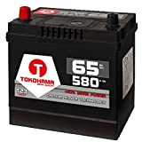 Tokohama Autobatterie 65Ah 580A/EN Asia Japan Starter Batterie Plus Pol Links ersetzt 60Ah 12V