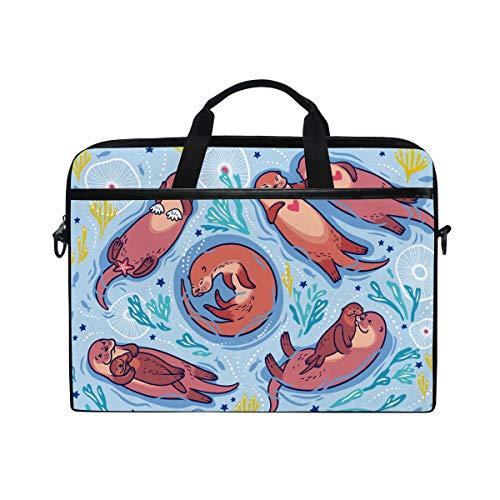 Otter-laptop-tasche (Hunihuni Otter Korallenmuster Laptop Umhängetasche Messenger Bag Tasche Aktentasche mit Tragegriff für Herren Damen Jungen Mädchen)