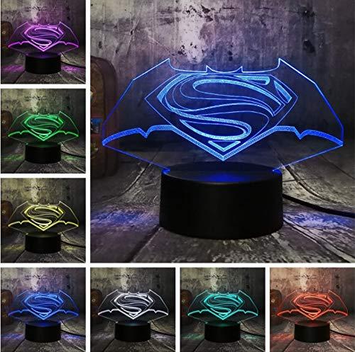 (Klsoo Cool 3D Led Superman Batman Logo Symbol Nachtlichter Schreibtisch Tischlampe 7 Farbwechsel Taschenlampe Usb Spielzeug Kinder Geschenk)