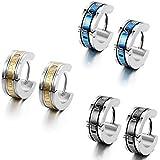 Flongo Herren-Ohrringe Damen-Ohrstecker Creolen, Edelstahl Ohrstecker Klapp-Creolen Reifen Huggie Ohrringe Silber Blau Schwar