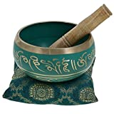 #3: Tibetan Singing Bowl Green 4 Inch Wide Authentic Meditation Gong for Relaxation, Completely Hand Carved Perfect Gift