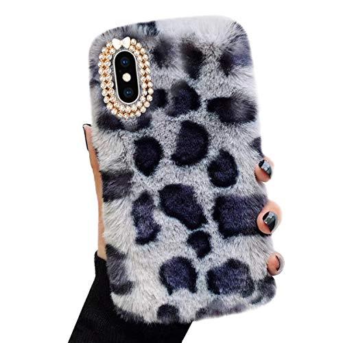 Cover in Peluche per Samsung Galaxy A5 2016 A510F, Misstars Elegante Pelliccia Faux con Bling Diamante Custodia Inverno Caldo Morbida Silicone TPU Case Antiurto Protettiva Bumper, Leopard Grigio