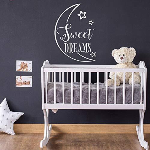 Süße Träume Baby Kinderzimmer Aufkleber - Mond und Sterne Dekoration Vinyl Aufkleber für Kinderzimmer Krippe Dekor 40X57cm -