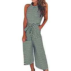2018 Sexy Sleeveless Striped Jumpsuit, Womens Summer Casual Clubwear Wide Leg Pants Outfit Party Playsuits Fashion Romper by GreatestPAK
