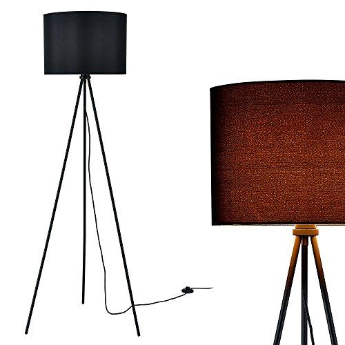 [lux.pro] Lampada da terra (1 x base E27)(150cm x 60cm) paralume di stoffa nero) paralume (Tre Paralume)