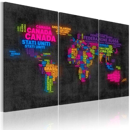 Bd xxl murando - quadro 120x80 cm - 3 parti - quadro su tela fliselina - stampa in qualita fotografica - mappa del mondo 020113-95